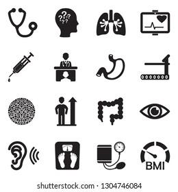 Physical Examination Icons. Black Flat Design. Vector Illustration.
