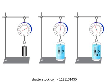 A physical experiment to study the strength of Archimedes, a solution of the kitchen salt is used, pure water, the dynamometer shows the dependence of the  force on the density of the liquid.