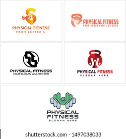 Physical fitness logo with letter S muscle arm holding barbell orange and dumbbell people vector suitable for gym club business company