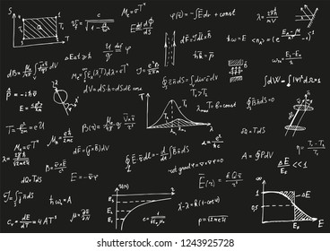 Physical formulas at black background. Electrodynamics, quantum physics, electrostatics, thermodynamics, Maxwell's formulas. Vector background for print.