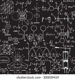 Physical formulas, graphics and scientific calculations on chalkboard. Vintage hand drawn illustration laboratory seamless pattern