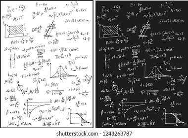 Physical formulas white and black vector background. Thermodynamics, electrodynamics, quantum physics. Maxwell Formulas, Rayleigh Scattering, Graphs and Mathematical Distributions.