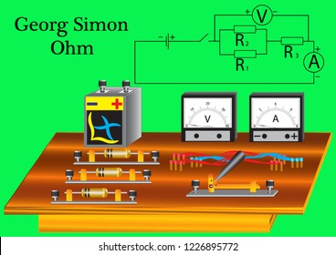 Physical laboratory instruments for studying the topic of Ohm's laws for an electrical circuit, instruments are used to measure current and voltage.