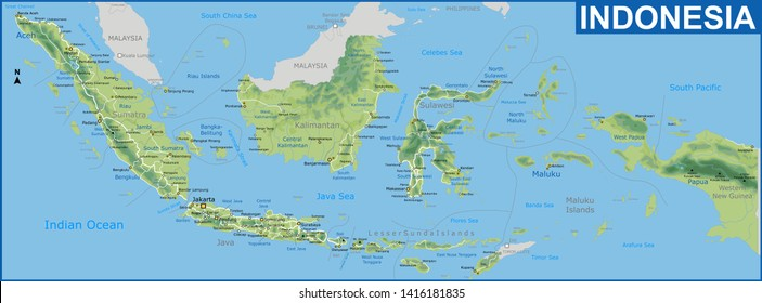 Physical map of Indonesia with detailed of Road network and Cities name