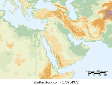 Physical map of Middle East with scale. Elements of this image furnished by NASA