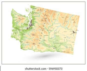 Physical map of Washington state isolated on white with a main relief, rivers, lakes and highways.