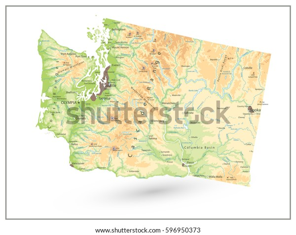 Physical Map Washington State Isolated On Stock Vector (Royalty Free on detailed map of washington, map of oregon and washington, tourism map washington, blank map of washington, olympia washington, geographic features of washington, fire map of washington, inset map of washington, map of lake roosevelt washington, physical features of washington, grays harbor washington, geologic map of washington, a topography map of washington, recreational map of washington, electronic map of washington, economy of washington, elevation map of washington, scale of washington, gender map of washington, vintage map of washington,