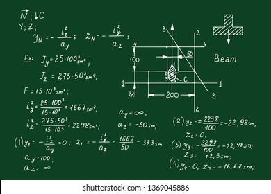 Physical notation with the equations, figures, schemes, plots and other calculations on chalkboard. Retro handwritten vector illustration. Scientific and educational background.