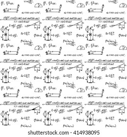 Physical seamless pattern with the equations, figures, schemes, plots and other calculations. Handwritten vector Illustration.