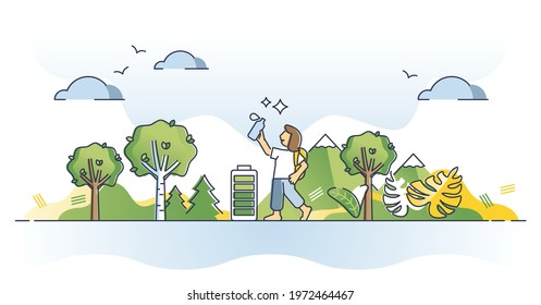 Physical self care lifestyle as body wellness and harmony outline concept. Outdoor energy gain or recharge and power up with hiking in nature vector illustration. Sport activities for good health.