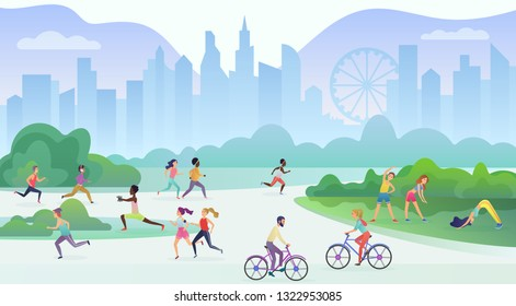 Physical sport outdoors activity in city public park. People are running, cycling and doing yoga. Sport and fitness, healthy lifestyle concept vector illustration.