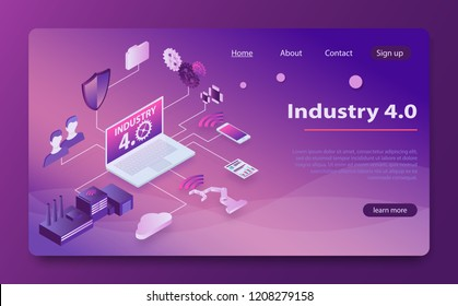 Physical systems, cloud computing, cognitive computing industry 4.0. Industry 4.0 Cyber Physical Systems. isometry smart industrial revolution, Factory automation, Internet of Things, data analysis