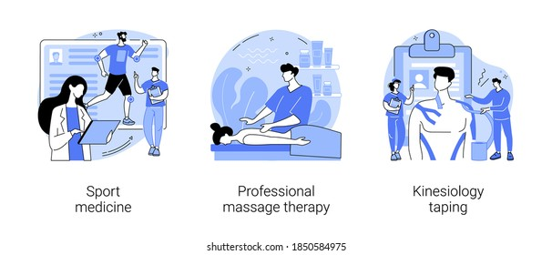 Physical therapy abstract concept vector illustration set. Sport medicine, professional massage therapy, kinesiology taping, pain relief, wellness relaxation, bandage application abstract metaphor.