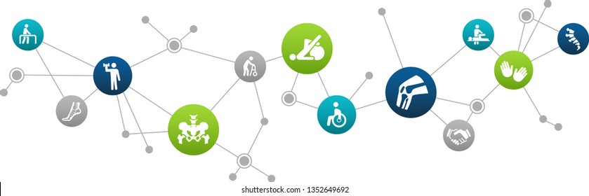 physical therapy, kinesiology, orthopedics concept – vector illustration
