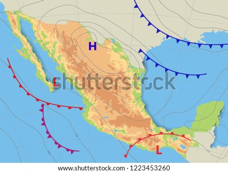 Physical Topography Map Mexico Realistic Weather Stock Vector