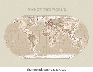 Physical vector map of the World with outlines, major capitals. Sepia