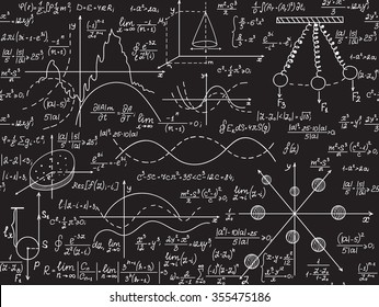 Physical vector seamless pattern with scientific formulas, research equations and figures, handwritten with chalk on a grey board seamless design