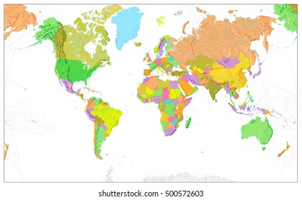 World map physical stock illustrations images vectors shutterstock physical world map in colors of political world map isolated on white with a global relief gumiabroncs Images