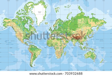 Physical world map mercator projection stock vector royalty free physical world map in mercator projection gumiabroncs Images