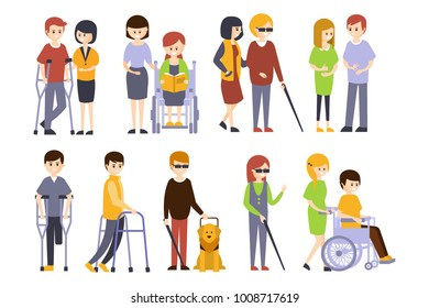 Physically Handicapped People Receiving Help And Support From Their Friends Family, Enjoying Full Life With Disability Set Of Illustrations Smiling Disabled Men Women