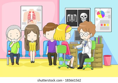 Physician doctor or pediatrician pediatrist is examining group of children from school with cold flu infection disease stethoscope in hospital, create by cartoon vector