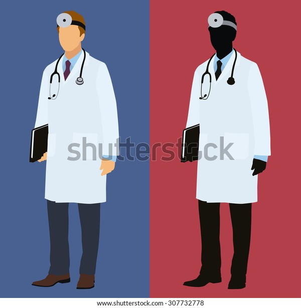 Physician, Doctor Or Surgeon Wearing a Lab Coat With Mirror on Head