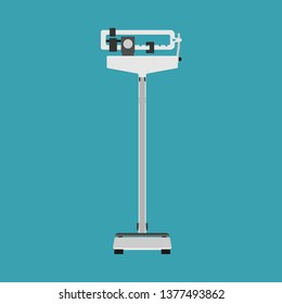 Physician scale vector icon care. Doctor medical diet active exercise fit. Cartoon hospital equipment weight measurement