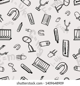 physics background science seamless pattern doodle sketch tools measuring formulas electron force load