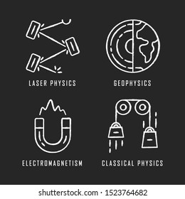 Physics branches chalk icons set. Laser and classical physics, electromagnetism and geophysics. Physical processes and phenomenons. Scientific experiment. Isolated vector chalkboard illustrations