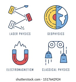 Physics branches color icons set. Laser and classical physics, electromagnetism and geophysics. Physical processes and phenomenons. Scientific experiment and researches. Isolated vector illustrations
