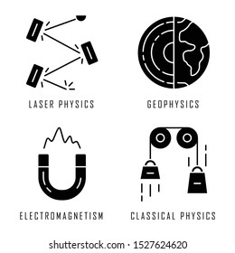Physics branches glyph icons set. Laser and classical physics, electromagnetism and geophysics. Physical processes and phenomenons. Silhouette symbols. Vector isolated illustration