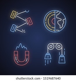 Physics branches neon light icons set. Laser and classical physics, electromagnetism and geophysics. Physical processes and phenomenons. Glowing signs. Vector isolated illustrations