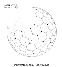 Physics and chemical science concept with hexagonal grid vector spheres