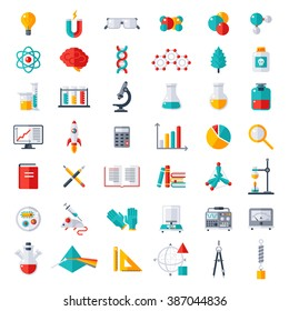 Physics, Chemistry, Biology, laboratory and science equipment Icons Set. Flat design vector illustration. Latex Gloves, Molecules, Data Analysis, Scientific Research, Chemical Experiment.