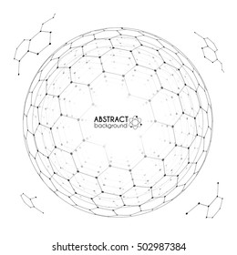 Physics and chemistry science concept with hexagonal grid vector spheres with fragments on white background