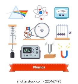 Physics classroom equipment colourful flat icon set. EPS 10 vector.