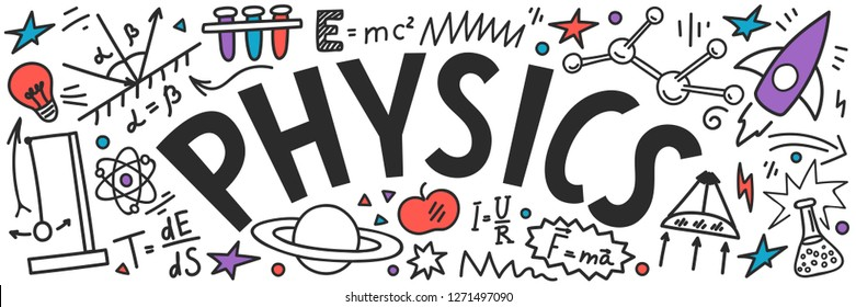 Physics doodles with lettering on white background. Education vector banner.