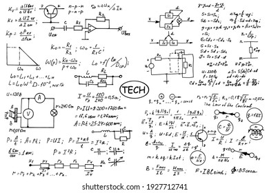 Physics, electronic engineering, mathematics equation, scheme and calculations, endless hand writing. Vector whiteboard. Technology background.