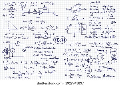 Physics, electronic engineering, mathematics equation and calculations, endless hand writing. Vector scientific and technology illustration on notebook page.