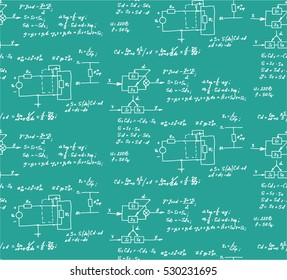 Physics, electronic engineering, mathematics equation and calculations, endless hand writing. Vector chalkboard. Scientific seamless pattern.