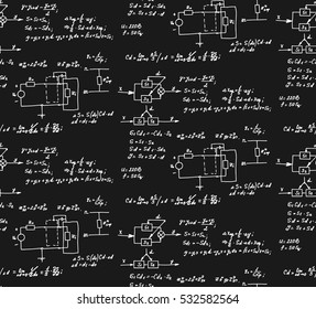 Physics, electronic engineering, mathematics equation and calculations, endless hand writing. Vector chalkboard. Scientific vintage seamless pattern.