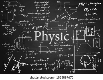 Physics  formulas drawn by hand on the background