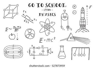 Physics. Hand sketches on the theme of Physics. Vector illustration.