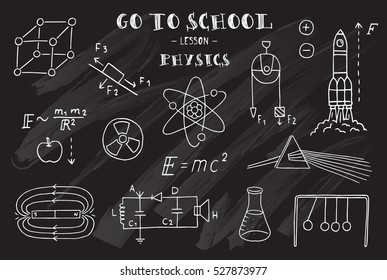 Physics. Hand sketches on the theme of Physics. Chalkboard. Vector illustration.