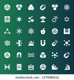 physics icon set. Collection of 36 filled physics icons included Gravity, Nuclear, Cradle, Magnet, Molecule, Rgb, Radiation, Dispersion, Atom, Positive ion, Molecules, Negative ion