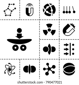 Physics icons. set of 13 editable filled physics icons such as magnet, atom fusion, atom move, atom, radiation