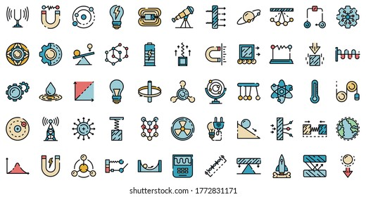 Physics icons set. Outline set of physics vector icons thin line color flat on white