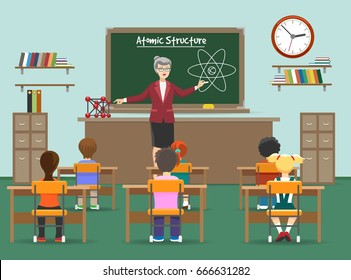 Physics lesson. Female teachers in classroom with kids in front of blackboard vector illustration