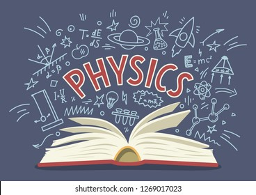 Physics. Open book with doodles and lettering. Education vector illustration.