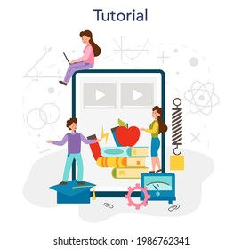 Physics school subject online service or platform. Scientist explore electricity, magnetism, light wave and forces. Online tutorial. Isolated vector illustration